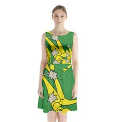 Starry Plough Flag Sleeveless Waist Tie Dress