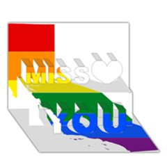 Lgbt Flag Map Of California Miss You 3D Greeting Card (7x5)