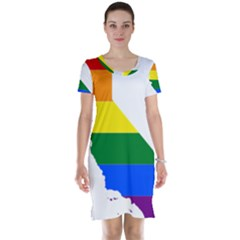 Lgbt Flag Map Of California Short Sleeve Nightdress