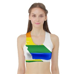 Lgbt Flag Map Of California Sports Bra with Border