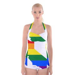 Lgbt Flag Map Of California Boyleg Halter Swimsuit