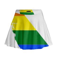 Lgbt Flag Map Of California Mini Flare Skirt