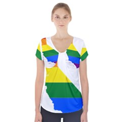 Lgbt Flag Map Of California Short Sleeve Front Detail Top