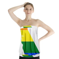Lgbt Flag Map Of California Strapless Top