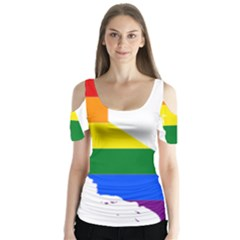 Lgbt Flag Map Of California Butterfly Sleeve Cutout Tee