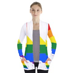 Lgbt Flag Map Of California Women s Open Front Pockets Cardigan(p194)
