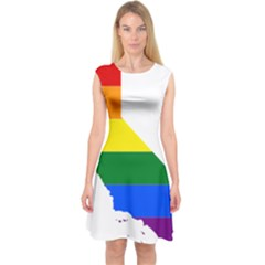 Lgbt Flag Map Of California Capsleeve Midi Dress