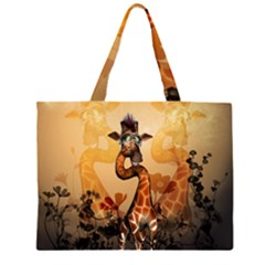 Funny, Cute Giraffe With Sunglasses And Flowers Large Tote Bag