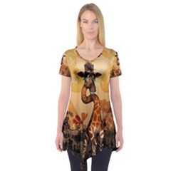 Funny, Cute Giraffe With Sunglasses And Flowers Short Sleeve Tunic