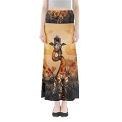 Funny, Cute Giraffe With Sunglasses And Flowers Maxi Skirts