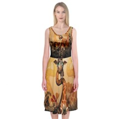 Funny, Cute Giraffe With Sunglasses And Flowers Midi Sleeveless Dress