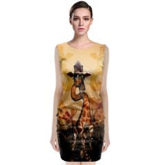 Funny, Cute Giraffe With Sunglasses And Flowers Classic Sleeveless Midi Dress
