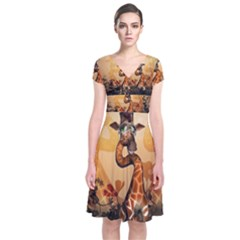 Funny, Cute Giraffe With Sunglasses And Flowers Short Sleeve Front Wrap Dress