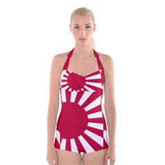 Ensign Of The Imperial Japanese Navy And The Japan Maritime Self Defense Force Boyleg Halter Swimsuit