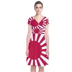 Ensign Of The Imperial Japanese Navy And The Japan Maritime Self Defense Force Short Sleeve Front Wrap Dress