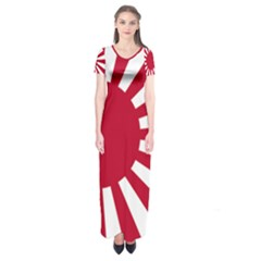 Ensign Of The Imperial Japanese Navy And The Japan Maritime Self Defense Force Short Sleeve Maxi Dress