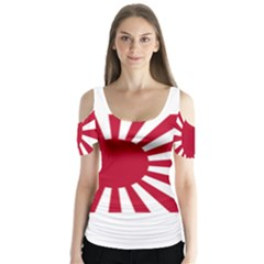 Ensign Of The Imperial Japanese Navy And The Japan Maritime Self Defense Force Butterfly Sleeve Cutout Tee