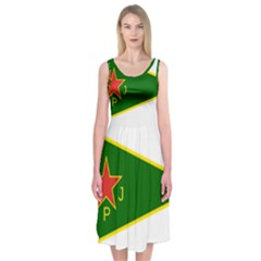 Flag Of The Women s Protection Units Midi Sleeveless Dress