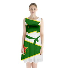Flag Of The Women s Protection Units Sleeveless Waist Tie Dress