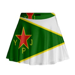 Flag Of The Women s Protection Units Mini Flare Skirt