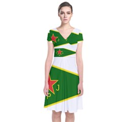 Flag Of The Women s Protection Units Short Sleeve Front Wrap Dress
