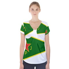 Flag Of The Women s Protection Units Short Sleeve Front Detail Top