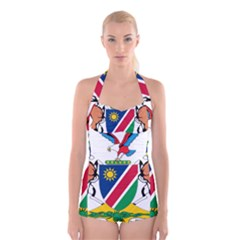 Coat Of Arms Of Namibia Boyleg Halter Swimsuit