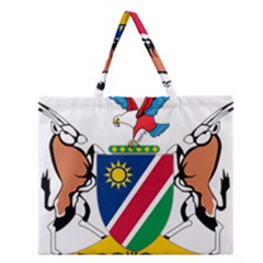 Coat Of Arms Of Namibia Zipper Large Tote Bag