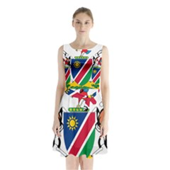 Coat Of Arms Of Namibia Sleeveless Waist Tie Dress