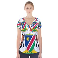 Coat Of Arms Of Namibia Short Sleeve Front Detail Top