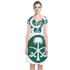 Roundel Of The Royal Saudi Air Force Short Sleeve Front Wrap Dress