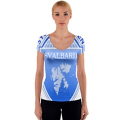 Coat Of Arms Of Svalbard Women s V-Neck Cap Sleeve Top