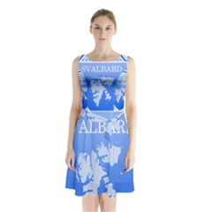 Coat Of Arms Of Svalbard Sleeveless Waist Tie Dress