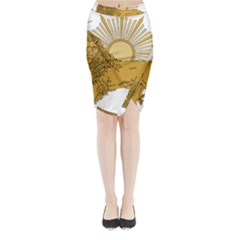 National Emblem Of Iran, Provisional Government Of Iran, 1979 1980 Midi Wrap Pencil Skirt