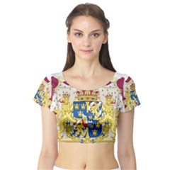 Greater Coat Of Arms Of Sweden  Short Sleeve Crop Top (Tight Fit)