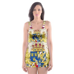Greater Coat Of Arms Of Sweden  Skater Dress Swimsuit