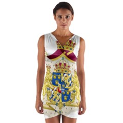 Greater Coat Of Arms Of Sweden  Wrap Front Bodycon Dress