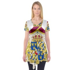 Greater Coat Of Arms Of Sweden  Short Sleeve Tunic