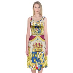 Greater Coat Of Arms Of Sweden  Midi Sleeveless Dress