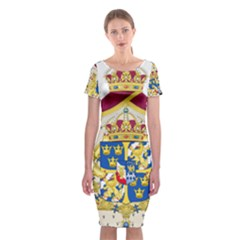 Greater Coat Of Arms Of Sweden  Classic Short Sleeve Midi Dress