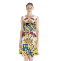 Greater Coat Of Arms Of Sweden  Sleeveless Waist Tie Dress