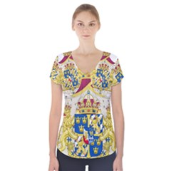 Greater Coat Of Arms Of Sweden  Short Sleeve Front Detail Top