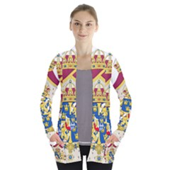 Greater Coat Of Arms Of Sweden  Women s Open Front Pockets Cardigan(P194)
