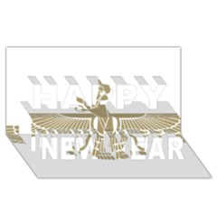 Stylized Faravahar  Happy New Year 3d Greeting Card (8x4)