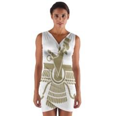 Stylized Faravahar  Wrap Front Bodycon Dress