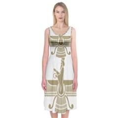 Stylized Faravahar  Midi Sleeveless Dress