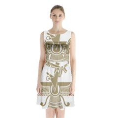 Stylized Faravahar  Sleeveless Waist Tie Dress