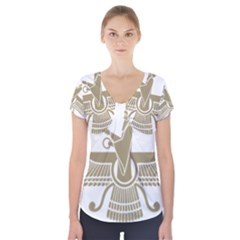 Stylized Faravahar  Short Sleeve Front Detail Top
