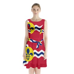 Flag Of St Sleeveless Waist Tie Dress