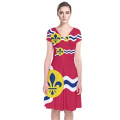Flag Of St Short Sleeve Front Wrap Dress